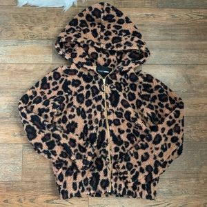 Fashionnova leopard zip Sherpa hoodie